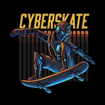 Кибер робот скейтбординг иллюстрация