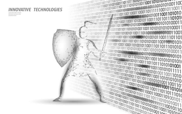 데이터 대량에 대한 사이버 안전 감시. 인터넷 보안 잠금 정보 개인 정보 보호 낮은 폴리 다각형 미래 혁신 기술 네트워크 비즈니스 그림.