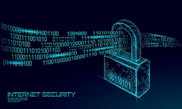 データ量に対するサイバー安全パドロック。インターネットセキュリティロック情報プライバシー低ポリ多角形将来革新技術ネットワークビジネスコンセプトブルーイラスト