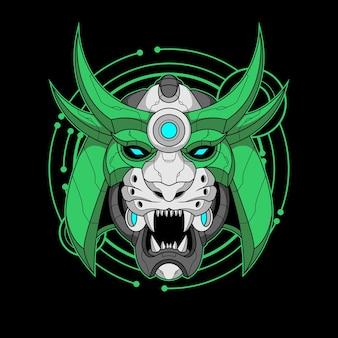 사이버 사무라이 호랑이 다채로운 그림