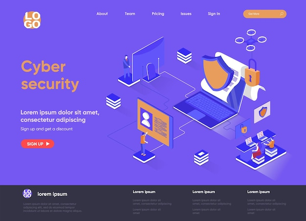 Cyber security 3d isometric landing page website   illustration with people characters