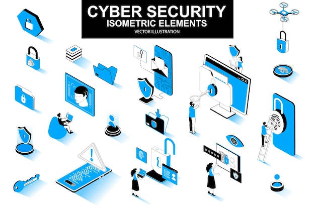 Cyber security 3d isometric line elements