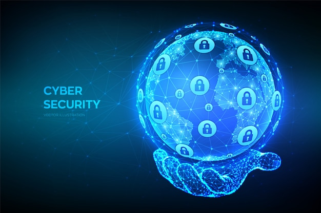 Cyber security. abstract polygonal earth planet globe in hand. cyber data security or network security idea.