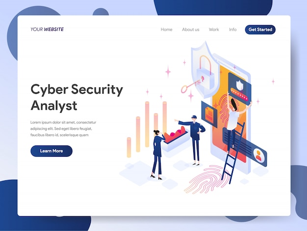 Cyber security analyst banner of landing page