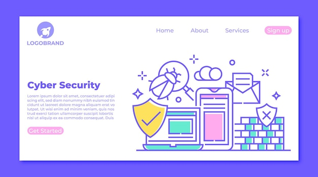 사이버 보안 및 바이러스 보호 방문 페이지 개념