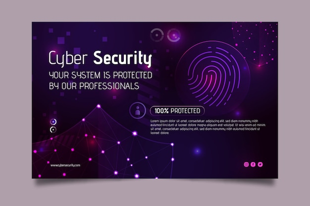 Cyber security banner web template