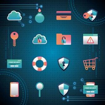 サイバーセキュリティバイナリハイサーキットバックグラウンドツール安全保護