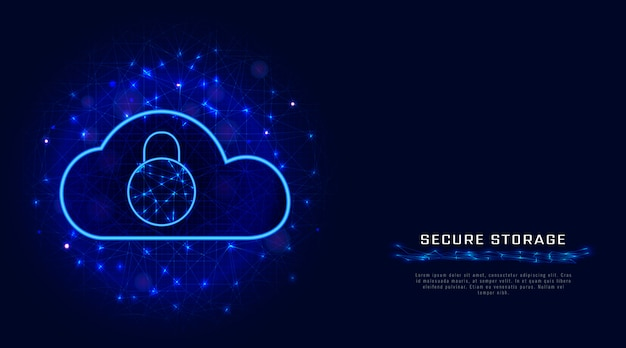 Cyber security. cloud data protection technology, padlock.