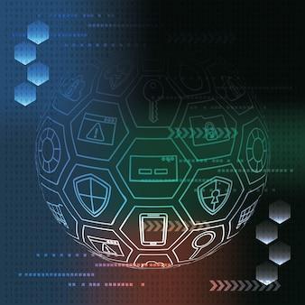 サイバーセキュリティカラフルな劣化背景の世界のツールの安全性アンチウイルスバイナリ回路