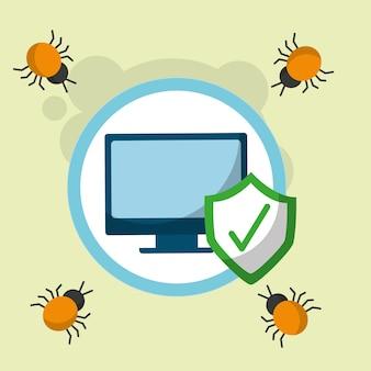 サイバーセキュリティコンピュータチェックマークウイルス危険攻撃