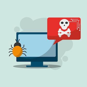Cyber security computer notification bug virus danger