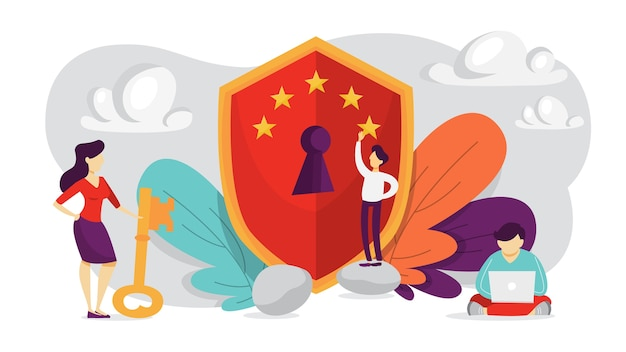 サイバーセキュリティの概念。デジタルデータ保護と安全のアイデア。現代のテクノロジーと仮想犯罪。パスワードによる情報へのアクセス。 gdprシステム。図