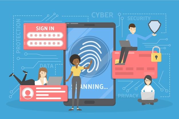 사이버 보안 개념. 디지털 데이터 보호 및 안전에 대한 아이디어. 현대 기술과 가상 범죄. 비밀번호 또는 지문을 통한 정보 접근. 삽화
