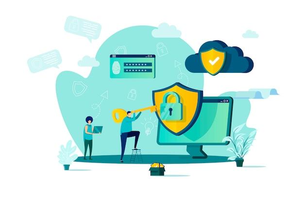 状況の人々の文字とスタイルのサイバーセキュリティの概念