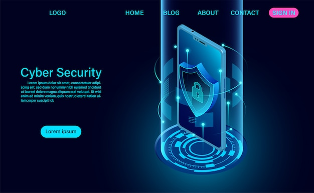Cyber security concept landing page