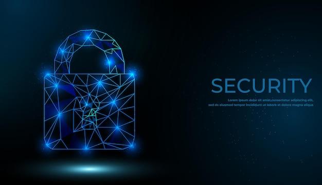 サイバーセキュリティの概念。線と三角形からシンボルをロックする