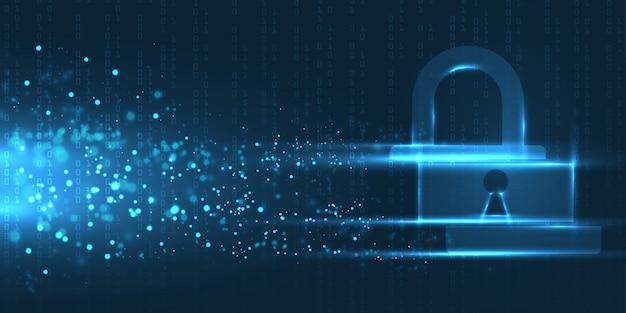 暗い背景、抽象的なデジタルインターネット上のサイバーセキュリティの概念。抽象的な背景技術。