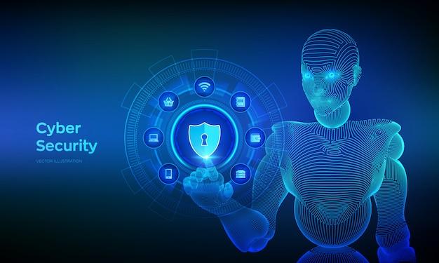 Концепция кибербезопасности на виртуальном экране. каркасная рука киборга касаясь цифровому интерфейсу.