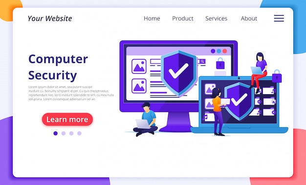 Cyber security concept, people work on laptop protecting data and confidentiality. website landing page  template