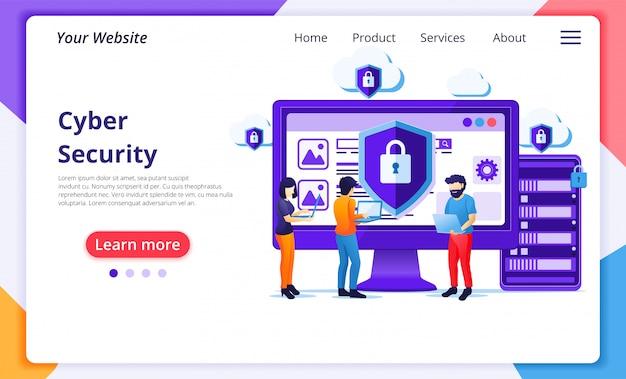 サイバーセキュリティの概念、人々はデータと機密性を保護する画面で動作します。ウェブサイトのランディングページテンプレート