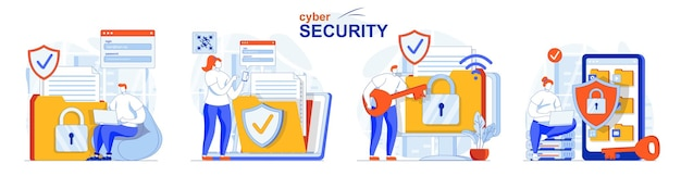 Cyber security concept set protection of personal data and online account access