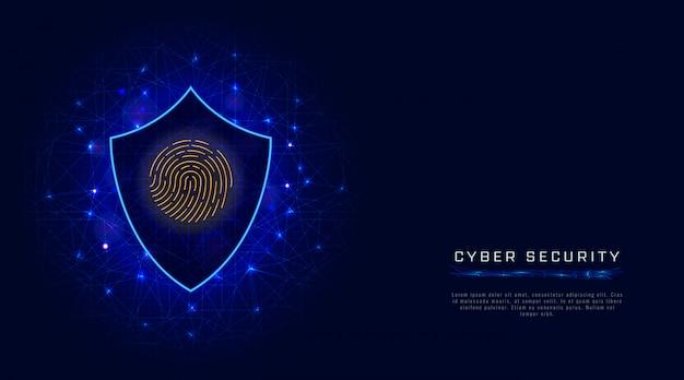 Концепция кибербезопасности. щит, сканирование отпечатков пальцев. защита данных в облаке на абстрактном фоне