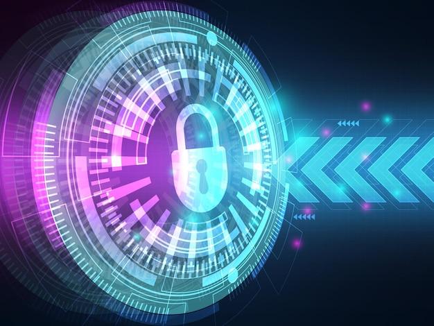 キーロックイラスト付きサイバーセキュリティコンセプトテクノロジーハイテク背景データ