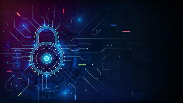 블루 톤 배경에 hud 요소와 사이버 보안 개념
