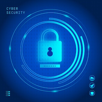 Cyber security concept with neon lock