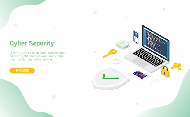 Cyber security concept with team people and secure code programmer with modern flat style and isometric design for website template or landing homepage