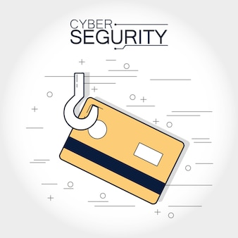 Cyber security credit card in hook