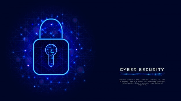 Cyber security, data protection banner, lock symbol, abstract background. cloud technology design