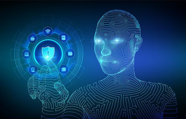 サイバーセキュリティ。仮想画面上のデータ保護ビジネスコンセプト。シールド保護アイコン。デジタルインターフェイスに触れるロボットハンド。