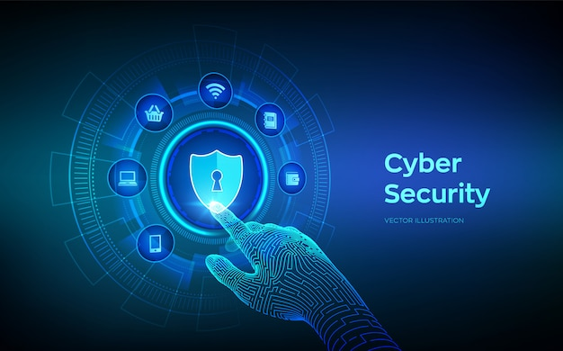 Cyber security. data protection business concept on virtual screen. robotic hand touching digital interface.