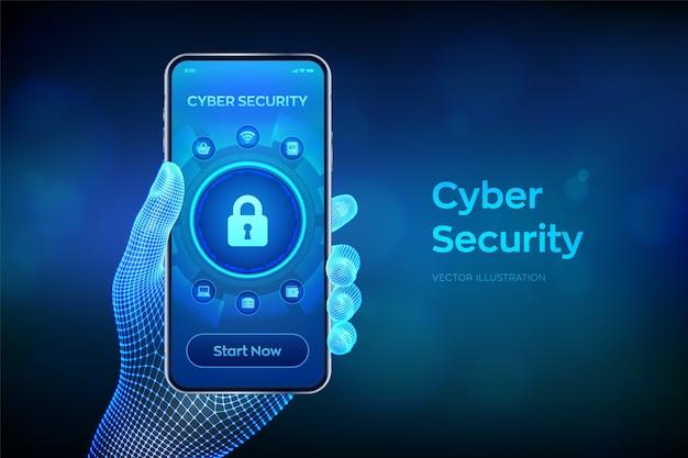 サイバーセキュリティ。仮想画面上のデータ保護の概念。鍵穴アイコンと南京錠。ワイヤーフレームの手でクローズアップのスマートフォン。