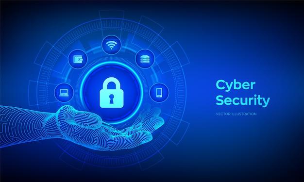 サイバーセキュリティ。仮想画面上のデータ保護の概念。ロボットの手で鍵穴付き南京錠アイコン。