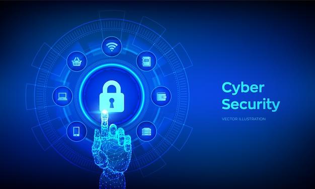 サイバーセキュリティ。仮想画面上のデータ保護の概念。南京錠と鍵穴のアイコン。デジタルインターフェイスに触れるロボットハンド。