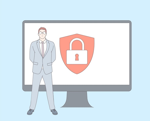 사이버 보안, 데이터 보호, 사이버 공격 개념.
