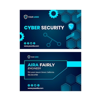 Cyber security double-sided horizontal business card template