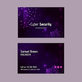 Cyber security double-sided horizontal business card
