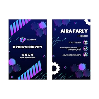 Cyber security double-sided vertical business card template