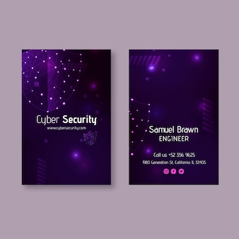 Cyber security double-sided vertical business card