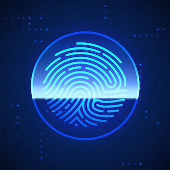 Cyber security finger print scanned. fingerprint scanning identification system. biometric authorization and security concept.