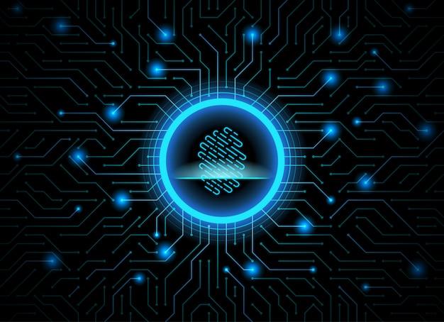 Cyber security fingerprint dark blue abstract digital technology background.
