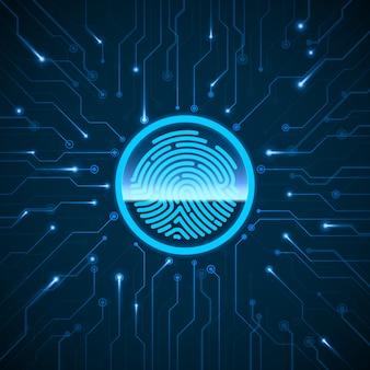 Кибер-безопасности. система идентификации по сканированию отпечатков пальцев. отпечаток пальца отсканирован на контуре. биометрическая авторизация и концепция безопасности.