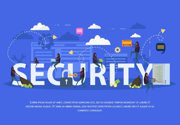 Cyber security flat composition with various hacker attacks on computer equipment on blue background illustration