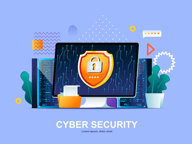 Cyber security flat concept with gradients illustration template