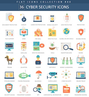 Cyber security flat icon set.