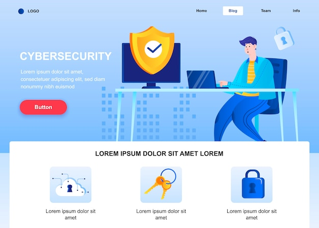 Cyber security flat landing page. engineer set up security system web page.