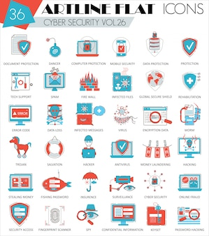 Cyber security flat line icons set